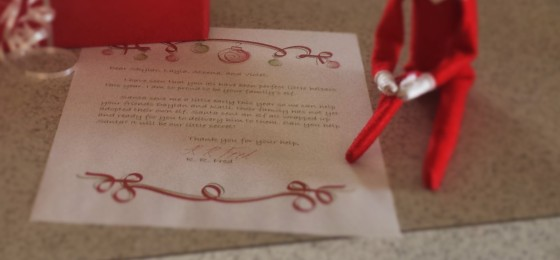 The letter from Red Red Fred asking us to be Santa's Helpers...
